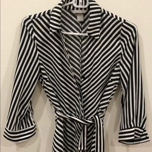 Striped dress with a pulled thread